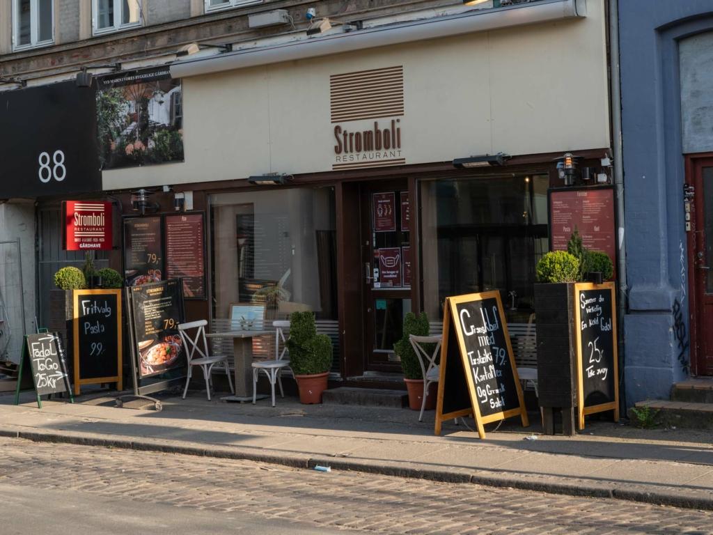 Restaurant Stromboli set ude fra Jægergårdsgade