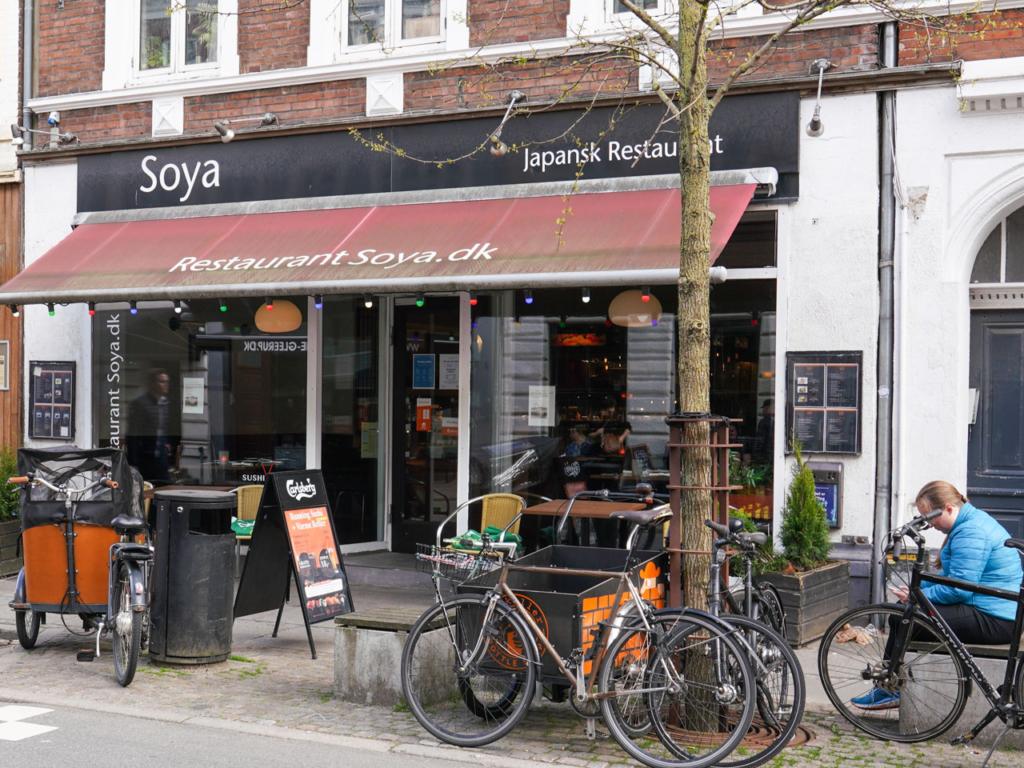 Restaurant Soya i Jægergårdsgade set udefra